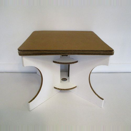 Table basse carrée carton blanc