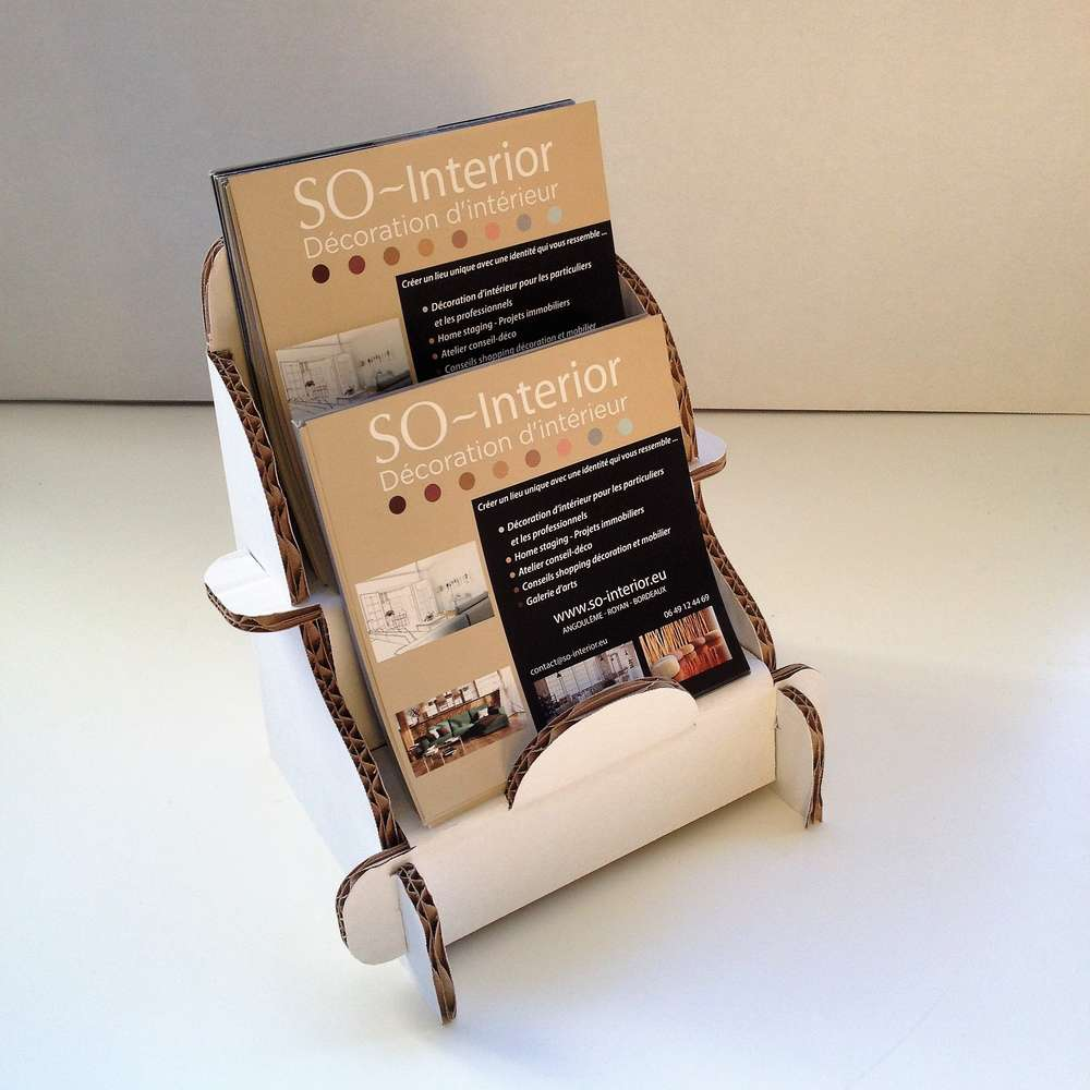 Meubles En Carton Pour Home Staging présentoir de comptoir 2 bacs pour revues format a5 en carton blanc